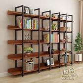 鋼木書架置物架客廳儲物架簡約現代簡易鐵藝層架貨架展示架書櫃牆CY 自由角落