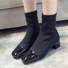襪靴 針織瘦腿彈力靴粗跟短靴女