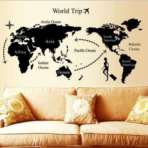 世界地圖壁貼 無痕牆壁貼紙 牆壁裝潢設計佈置貼紙【YV2634】HappyLife