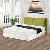 【KIKY】森林王子北歐風亞麻布靠枕床組-雙人5尺(床頭片+床底)綠色