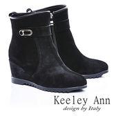 ★零碼出清★Keeley Ann 簡約質感 ~ 金屬牛麂皮楔型短靴(黑)