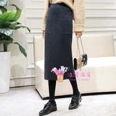 冬長裙 黑色針織半身裙女秋冬季毛線包臀裙子開叉a字打底長裙中長款冬裙F-XL碼 2色
