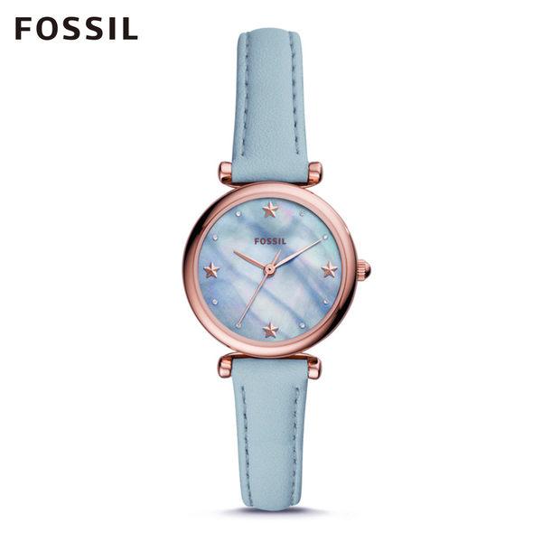 FOSSIL Carlie 天藍色星星迷你皮革手錶 女ES4528