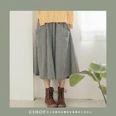 裙子  俏麗大口袋細格棉麻圓裙  單色-小C館日系