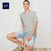 Gap男裝 簡約純色V領短袖T恤 440768-淺麻灰色