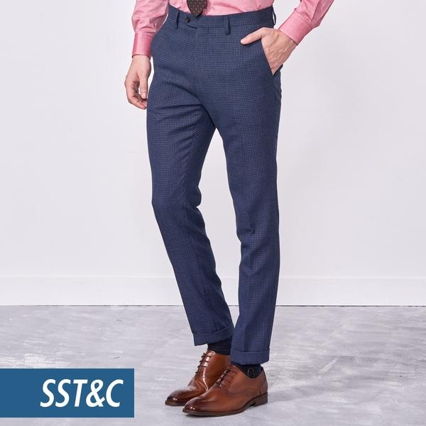 SST&C 男裝 天藍幾何紋修身西裝褲 | 0212010004
