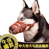 中大型犬狗用牛皮嘴套德牧金毛寵物口罩哈士奇防咬防叫防亂吃嘴罩 探索先鋒