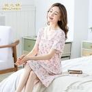 睡衣 20夏季新品韓版睡裙女士家居服短袖休閒睡衣竹纖維印花 16原本