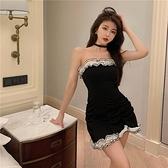 抹胸洋裝 木耳邊抹胸連身裙一字肩露背緊身包臀短裙女裝夏季2021年新款裙子 韓國時尚週