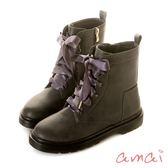 amai《半糖主義》甜美中性緞帶拉鍊軍靴 灰