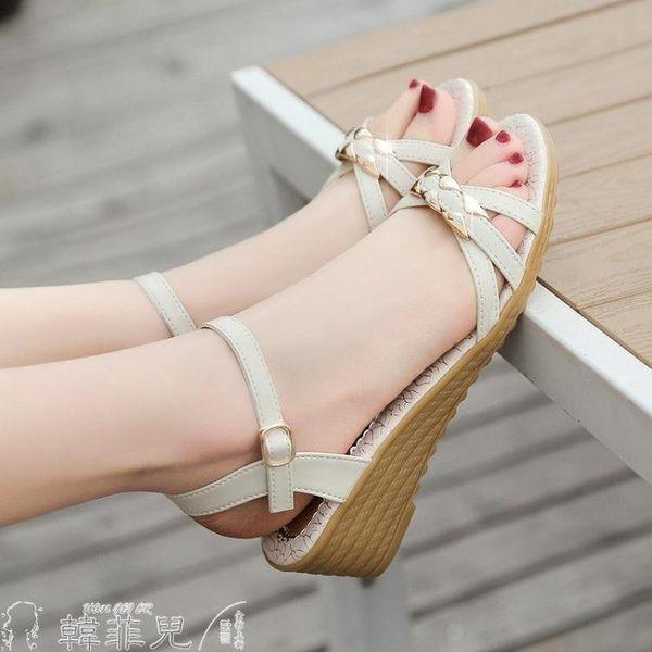 涼鞋 涼鞋女夏新款坡跟女鞋牛筋底露趾中跟厚底平底舒適防滑媽媽鞋 韓菲兒