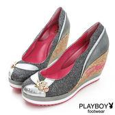 PLAYBOY 璀璨流星 GOPLAY 亮片楔型跟鞋-鎳