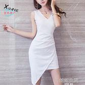 性感夜店女裝韓版氣質修身包臀不規則緊身無袖洋裝 韓語空間