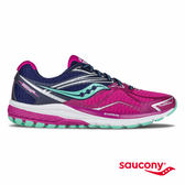 SAUCONY RIDE 9 緩衝避震專業訓練鞋-桃紅x藍x嫩綠