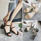 低跟涼鞋 涼鞋女夏季新款韓版中跟一字扣帶...