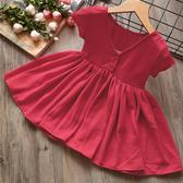 兒童2020夏季新款中小女童純色V領大裙擺短袖洋裝公主裙0824 滿天星
