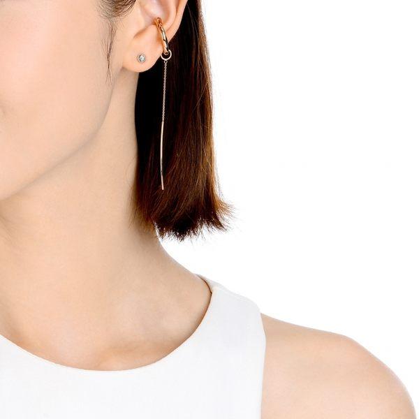 點睛品 Ear Play 18K玫瑰金新月形垂吊耳飾