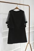 現貨出貨特價透明雪紡寬袖性感美艷黑上衣-L黑色