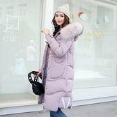 羽絨外套-連帽長款大毛領字母裝飾加厚女夾克7色73pa1[巴黎精品]