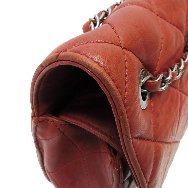 CHANEL香奈兒紅色菱格紋牛皮2.55方扣銀鍊雙蓋手提肩背斜背包【二手名牌 BRAND OFF】