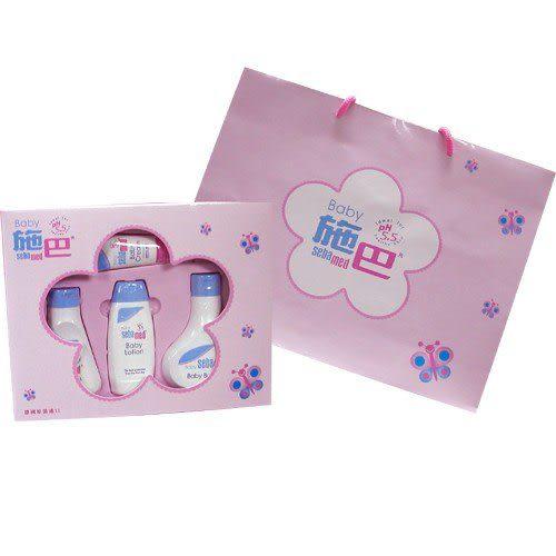 【奇買親子購物網】施巴 Sebamed 嬰兒粉紅花語禮盒 (彌月禮盒)