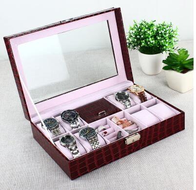 創意天窗手錶盒皮錶盒手錶收納箱裝錶盒開窗手鍊首飾盒送男友禮物