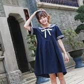 夏季海軍風水手服套裝女短袖連衣裙子學院風上衣學生甜美日系 QQ2973『樂愛居家館』