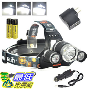 BORUIT RJ-3000 6000 Lumens Bright Headlight Headlamp Flashlight Torch CREE XM-L2 + 2 XPG LED