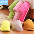 【X010】shiny藍格子-舒服好穿.冬季保暖男女情侶長毛絨泡沫底棉室內居家拖鞋