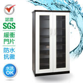 IHouse-SGS 防潮抗蟲蛀緩衝塑鋼雙開門鞋櫃粉白