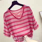 韓版i半袖冰絲針織衫寬鬆條紋短袖t恤女上衣服    琉璃美衣