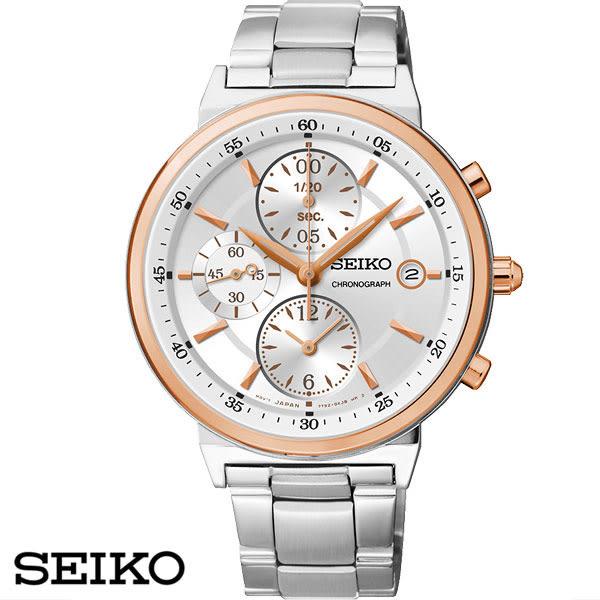 SEIKO精工錶 玫瑰金框白面三眼鋼帶女錶・7T92-0RS0K SNDW48P1・公司貨|名人鐘錶高雄門市