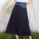 棉麻長裙-古典氣質腰邊刺繡半身女裙子6色73hr19[巴黎精品]