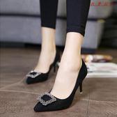 尖頭細跟女鞋中跟單鞋水鉆方扣高跟鞋
