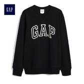 Gap男裝 簡約撞色Logo長袖休閒上衣 488110-純正黑