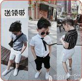 男童襯衫 兒童男童豎條紋polo衫短袖T恤潮白黑灰色短袖襯衫衣 寶貝計畫