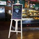 展示板實木支架式小黑板店鋪用創意廣告牌展示牌留言板掛式兒童黑板牆【全館免運】