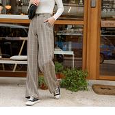 《BA5301-》西裝質感格紋後腰鬆緊打褶寬版長褲 OB嚴選