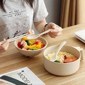 學生宿舍泡面碗神器帶蓋小麥碗餐具便當飯盒方便面碗筷套裝易清洗  ciyo黛雅