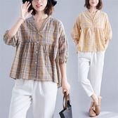 棉紗 韓系格紋V領上衣-中大尺碼 獨具衣格