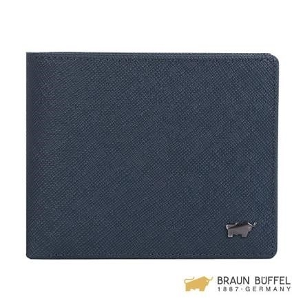 【南紡購物中心】【BRAUN BUFFEL】洛非諾III系列4卡零錢皮夾 -午夜藍 BF314-315-MAR