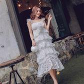 洋裝-無袖荷葉邊刺繡網紗蛋糕裙女連身裙73pu72[巴黎精品]