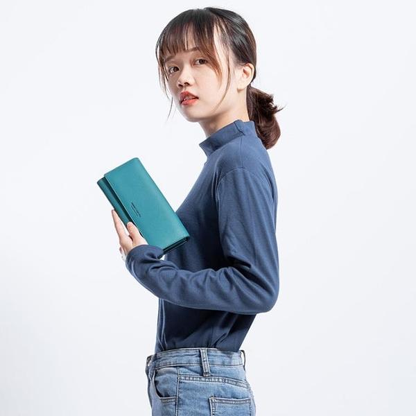 卡包黃色錢包招財手機包新款女士長款日韓版簡約時尚搭扣女式 中秋節全館免運