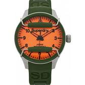【台南 時代鐘錶 Superdry極度乾燥】美式和風 文化衝擊潮流腕錶 SYG130N 矽膠帶 亮橘/墨綠 44mm