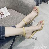 高跟涼鞋 涼鞋女2021新款夏季韓版百搭透明高跟鞋一字扣中空性感露趾羅馬鞋 曼慕