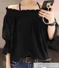 夏季新款歐貨女裝時尚韓版一字領露肩雪紡衫洋氣上衣潮  母親節特惠