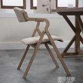 曲木現代簡約復古民宿折疊餐椅靠背布藝咖啡餐廳書房休閒椅子簡易igo『潮流世家』