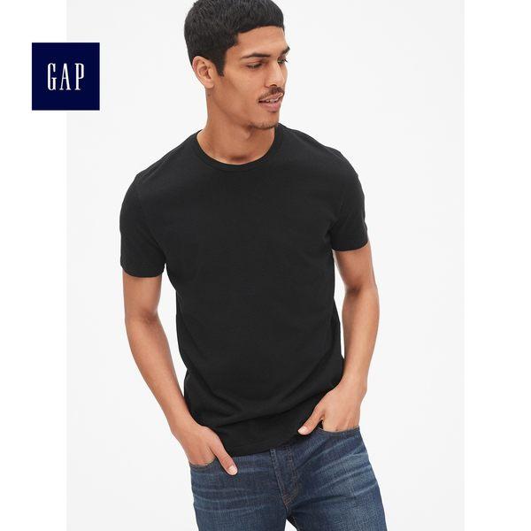 Gap男裝 簡約純色圓領短袖T恤 440775-純正黑