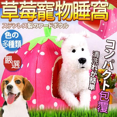 【培菓平價寵物網】DYY》卡哇伊草莓造型寵物窩屋M號 (附有軟墊)