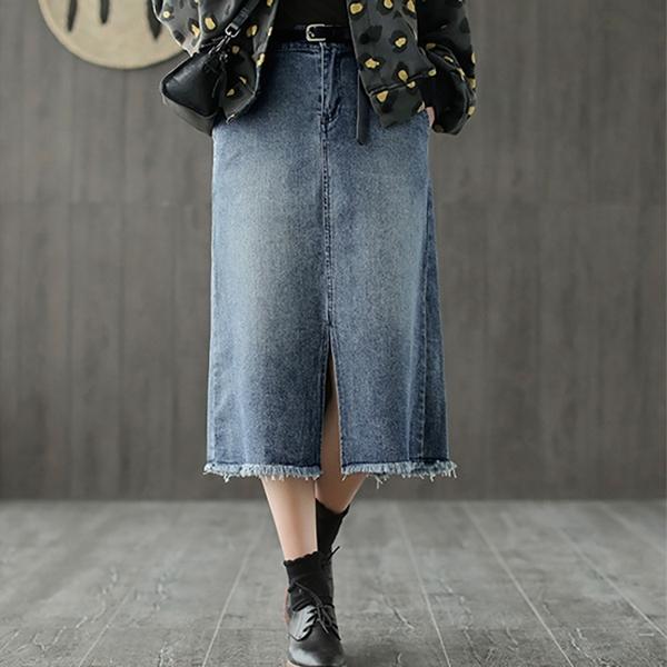 現貨 刷白前開叉鬆緊腰牛仔裙直筒裙窄版裙【75-18-81956-19】ibella 艾貝拉